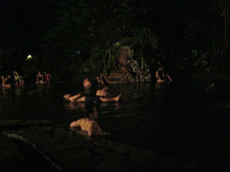 Night swimming at the hot spring.